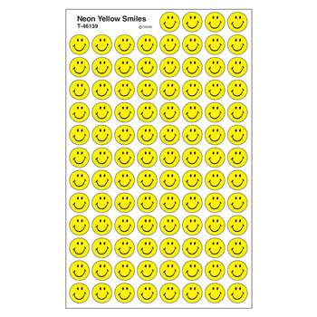 Neon Yellow Smiles Superspots Stickers By Trend Enterprises