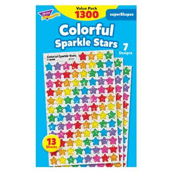 Supershapes Variety 1300Pk Colorful Stars Sparkle By Trend Enterprises