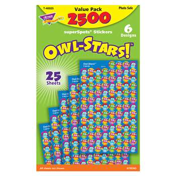 Owl Stars 2500Pk Super Spots Stickers By Trend Enterprises
