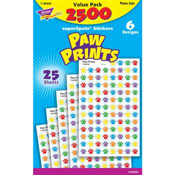 Paw Prints Superspots Stickers Value Pack By Trend Enterprises