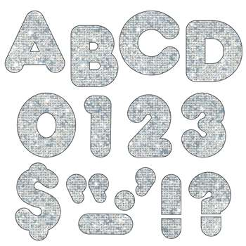 Ready Letters 2 Inch Casual Silver Sparkle By Trend Enterprises