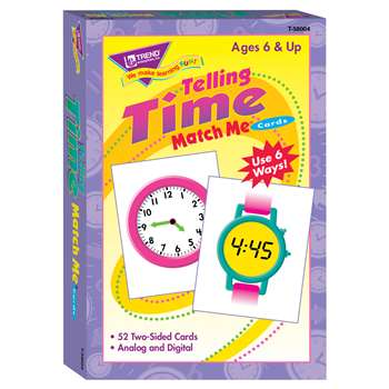 Match Me Cards Telling Time 52/Box Two-Sided Cards Ages 6 & Up By Trend Enterprises