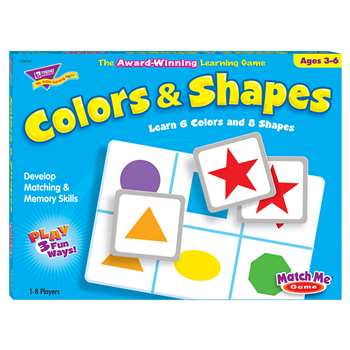 Match Me Game Colors & Shapes Ages 3 & Up 1-8 Players By Trend Enterprises