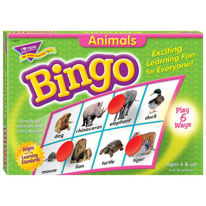 Animals Bingo Game By Trend Enterprises
