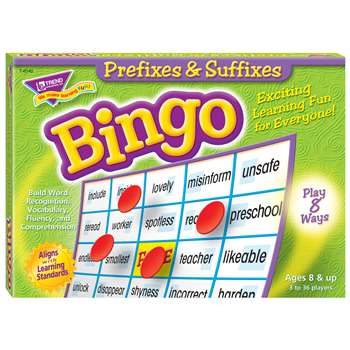 Prefixes & Suffixes Bingo Game By Trend Enterprises
