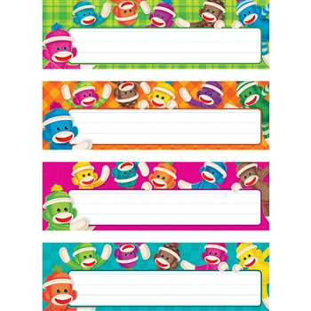Sock Monkeys Desk Name Plates Variety Pack By Trend Enterprises