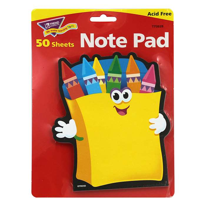 Note Pad Crayons 50 Sht 5X5 Acid Free By Trend Enterprises