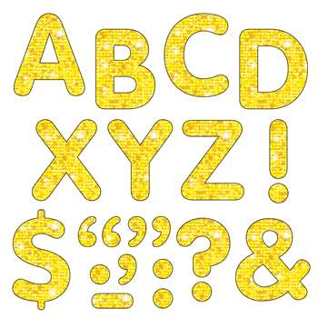Stick-Eze Stick-On Letters Yellow Sparkle 2 Inch By Trend Enterprises