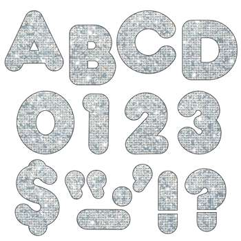 Ready Letters 3 Inch Casual Silver Sparkle By Trend Enterprises