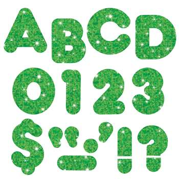 Ready Letters 3 Inch Casual Green Sparkle By Trend Enterprises