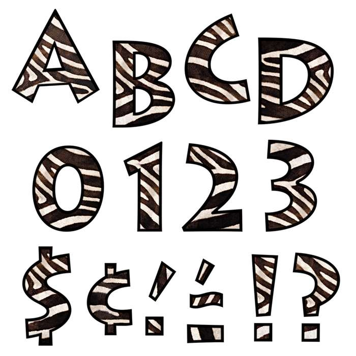 Zebra 4 Inch Venture Ready Letters By Trend Enterprises