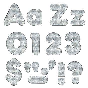 Silver Sparkle 4In Casual Combo Ready Letters By Trend Enterprises