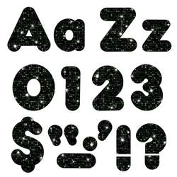 Black Sparkle 4In Combo Pack Uppercase Lowercase By Trend Enterprises