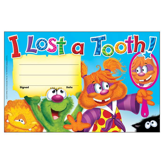 I Lost A Tooth Furry Friends Recognition Awards By Trend Enterprises