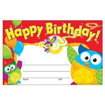 Happy Birthday Owl Stars Recognition Awards By Trend Enterprises