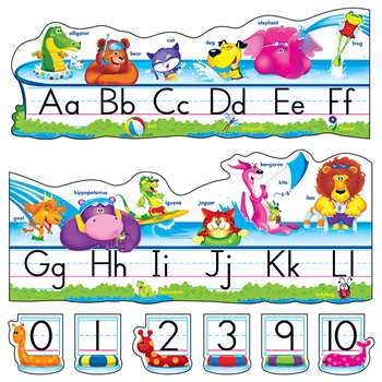 Pool Party Pals Alphabet Line Std Manuscript Bulletin Board Set By Trend Enterprises