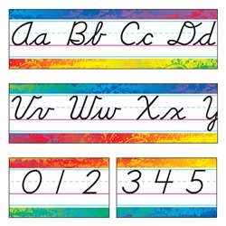 Splashy Colors Alphabet Line Modern Cursive Bulletin Board Set By Trend Enterprises