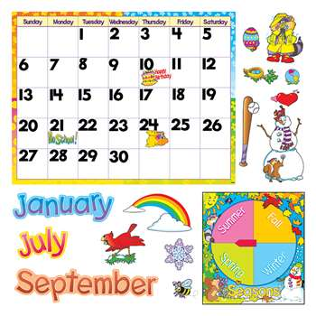 Monthly Calendar Bulletin Board Set W/ Cling Pieces By Trend Enterprises
