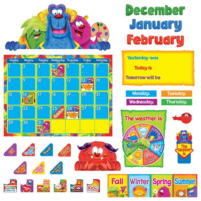 Furry Friends Calendar Bulletin Board Set By Trend Enterprises