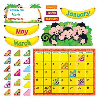 Monkey Mischief Calendar Bulletin Board Set By Trend Enterprises