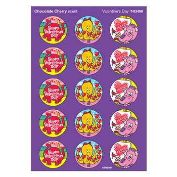 Stinky Stickers Valentines 60/Pk Day Chocolate Cherry Acid-Free By Trend Enterprises