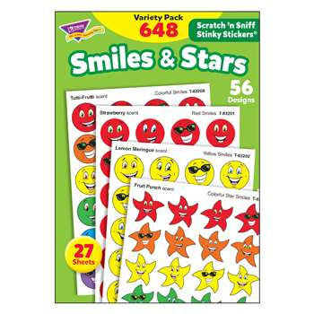 Stinky Stickers Smiles Stars 648/Pk Jumbo Acid-Free Variety Pk By Trend Enterprises