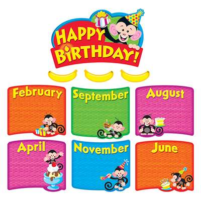 Monkey Mischief Birthday Bunch Mini Bulletin Board Set By Trend Enterprises