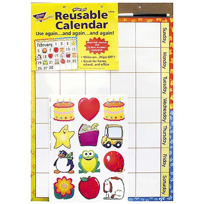 Wipe-Off Reusable Calendar 17X22 W/ Marker & 12 Mini Accent By Trend Enterprises