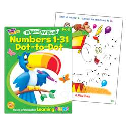 Numbers 1-31 Dot To Dot Wipe Off Book By Trend Enterprises