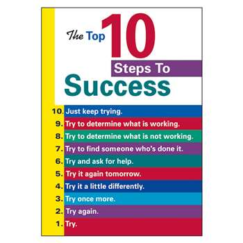 Poster The Top 10 Steps To Success By Trend Enterprises