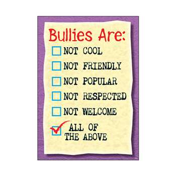 Poster Bullies Are Not Cool Not Friendly Argus By Trend Enterprises