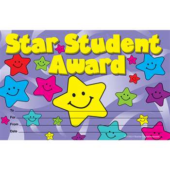 Star Student Awards 25Pk 8-1/2 X 5-1/2 By Teacher Created Resources