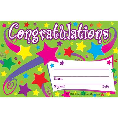 Congratulations Awards 25Pk 8-1/2 X 5-1/2 By Teacher Created Resources