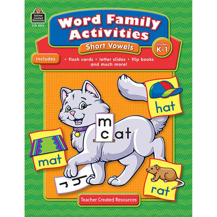 Word Family Activities Short Vowels Gr K-1 By Teacher Created Resources