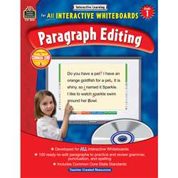 Interactive Learning Gr 1 Paragraph Editing W/Cd By Teacher Created Resources