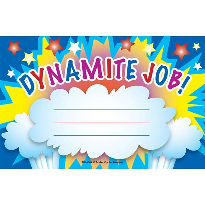 Dynamite Job Awards 25Pk 8-1/2 X 5-1/2 By Teacher Created Resources
