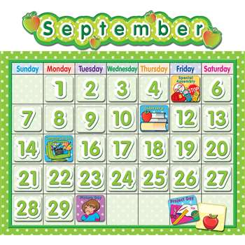 Polka Dot School Calendar Bulletin Board Board By Teacher Created Resources