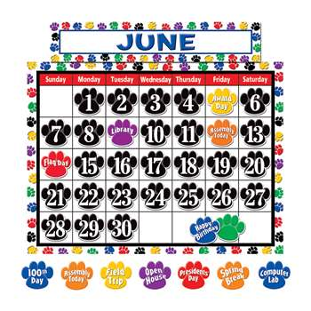 Colorful Paw Prints Calendar Bulletin Board Set By Teacher Created Resources