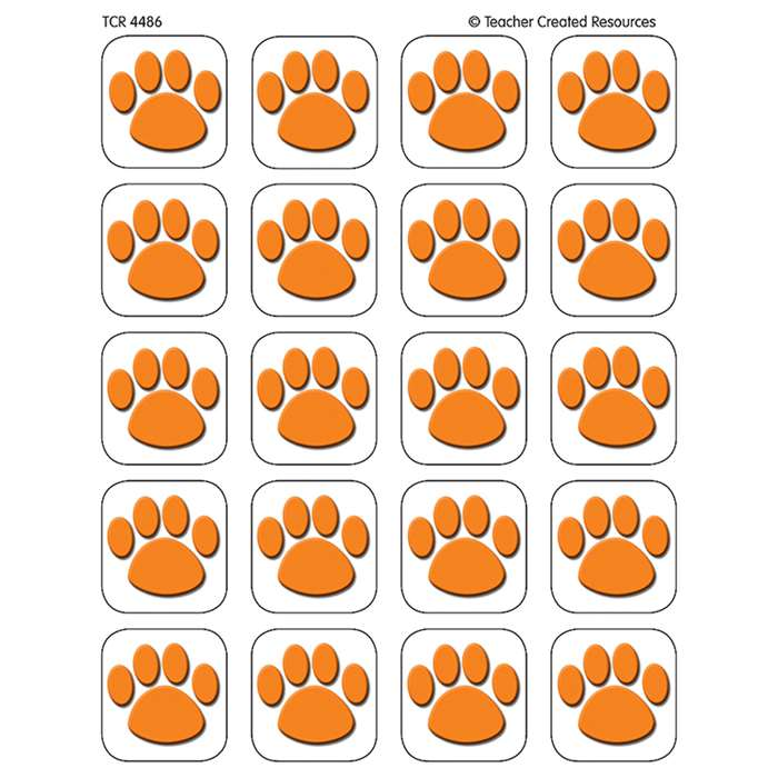 Orange Paw Print Stickers By Teacher Created Resources