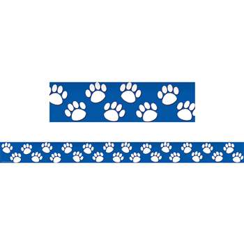Blue With White Paw Prints Straight Border Trim By Teacher Created Resources
