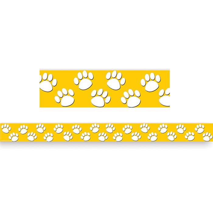 Gold With White Paw Prints Straight Border Trim By Teacher Created Resources