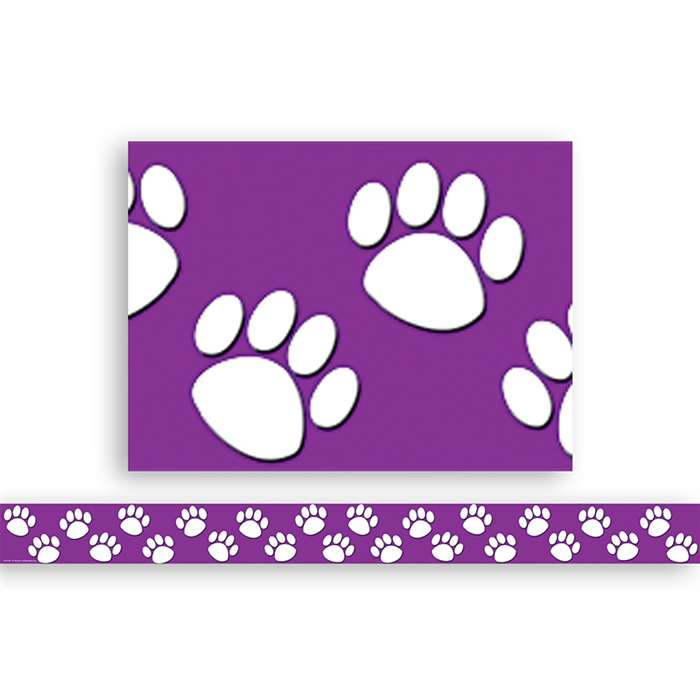 Purple With White Paw Prints Straight Border Trim By Teacher Created Resources