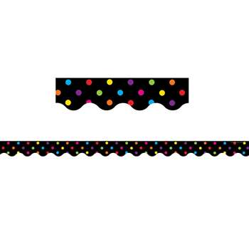 Black/Multicolor Dots Scalloped Border Trim By Teacher Created Resources