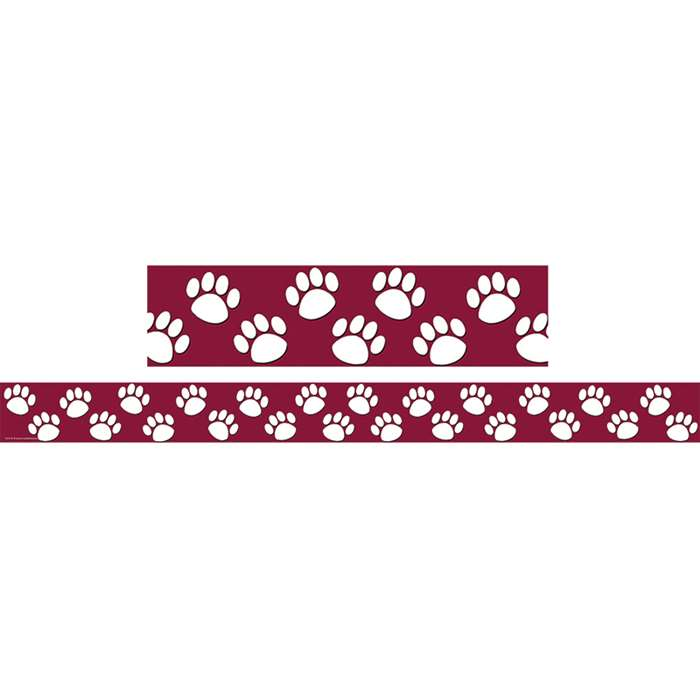 Maroon With White Paw Prints Straight Border Trim By Teacher Created Resources