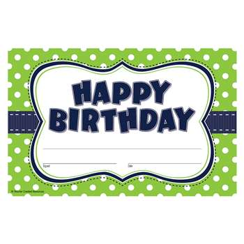 Lime Polka Dots Happy Birthday Awards, TCR4771