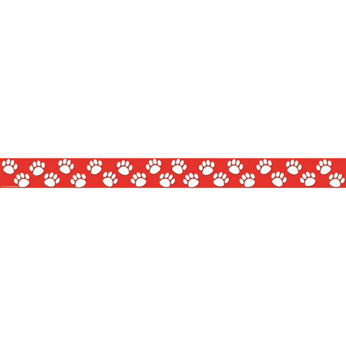 Red With White Paw Prints Straight Border Trim By Teacher Created Resources