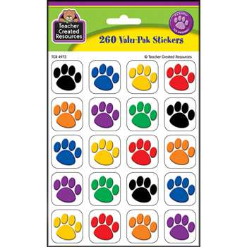 Colorful Paw Print Stickers Value Pack By Teacher Created Resources