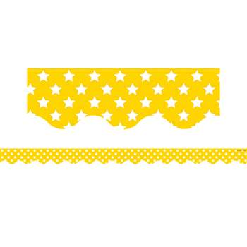 Yellow With White Stars Scalloped Border Trim, TCR5030