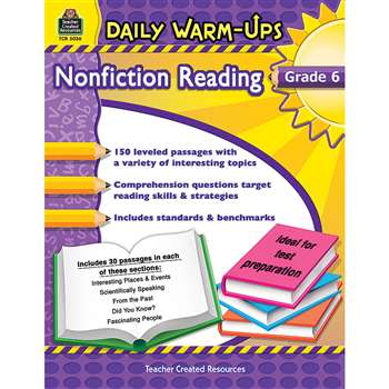 Daily Warm Ups Gr 6 Nonfiction Reading By Teacher Created Resources