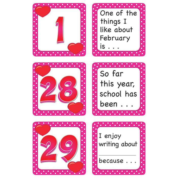 February Polka Dots Calendar Days Story Starters By Teacher Created Resources